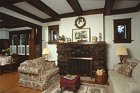 Fireplace and living room at Creekside Terrace